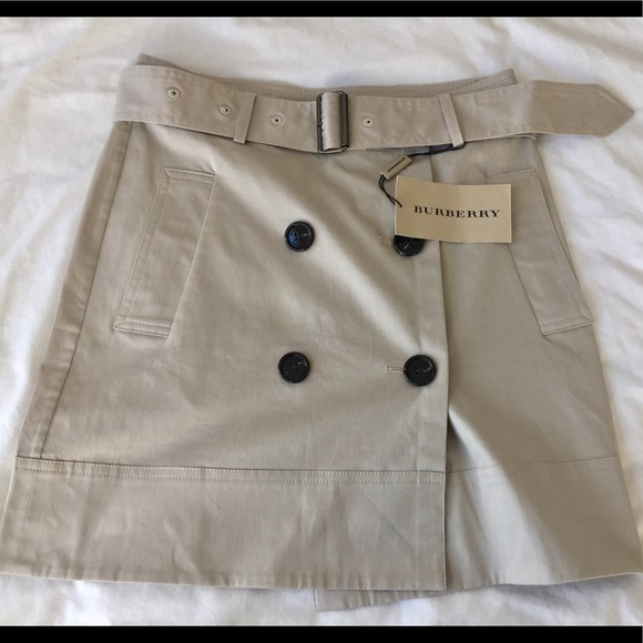 db531a0486 Burberry Skirts | Khaki Double Breasted Trench Skirt | Poshmark